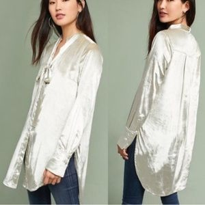 Anthropologie Maeve Velvet Tie-Neck Button-down